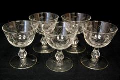 Set of 5 Vintage Libbey Glass Leaf Etched Champagne Glasses Cocktails