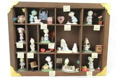 1989 Enesco Precious Moments Calendar Figurines And Wood Display Shelf