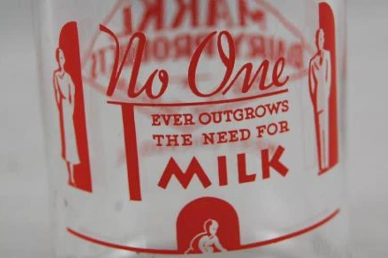 Vintage MARKL Brand Glass Milk Bottles Half Pint Liquid 1960 Clear Red Writing