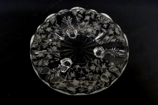 "8"" Fostoria Baroque Three Footed Upturned Scallop Edge Fleur de Lis Dish Overlay"