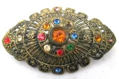 Vintage Antiqued N./4 Gold Tone And Rhinestone Brooch