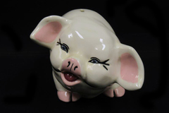 Vintage White Ceramic Pig Piggy Bank 4 inch Tall