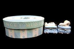 Mud Pie Trinket Box Set Prince's First Tooth & First Haircut Keepsake Blue