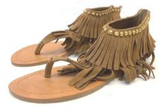 Steve Madden Klingee Sandals Women's Size 8.5M Fringe Brown Leather Studded