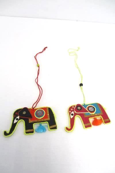 Lot of 2 Hanging Elephant Charms Multicolored Embellished Pink Black