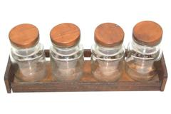 Vintage Set of 4 Clear Glass Jars With Wood Tray Wood Lids 5.5 Inches Tall