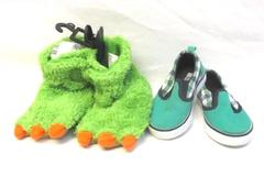 Lot of 2 Pairs Of Toddler Boy Shoes Size 5 Monster Slippers Gymboree Slip On