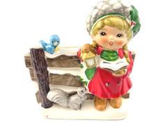 Vintage Napcoware Planter Christmas Caroling Girl Bird Squirrel Ceramic  X-8995