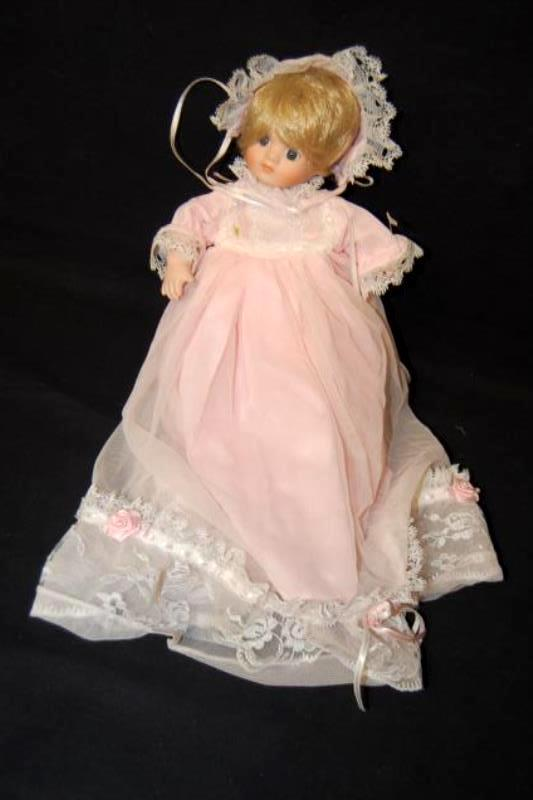 Dynasty Dolls Blessed Event Baby Girl Porcelain Doll Basket Bed Canopy Lace COA