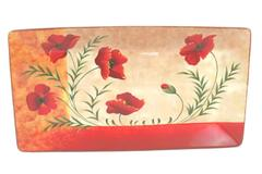 Pier 1 Imports Large Serving Tray Dish Poppies Hand Painted Earthenware
