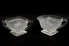 Indiana Sandwich Glass Clear Diamond Shaped Creamer And Sugar Bowl
