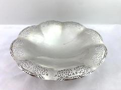 Vintage Quist 3 Footed Silverplated Tray Pierced Design Scalloped Edge Germany