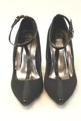 2 Lips Too Heels Pumps Black Point Toe Ankle Strap Women's Size 7 Patent Leather