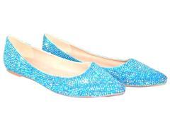 Women's Point Toe Flats Blue Rhinestone Bling Women's Size 9.5/41 Opalescent