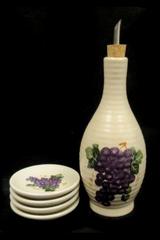 Ceramic Olive Oil Dispenser Dipping Plate Set Grape Pattern Serves 4 Unbranded