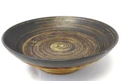 Handmade Ceramic Salad Or Fruit Bowl with Bamboo Overlay Brown 11.75 Inch