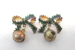 Christmas Ornament Holiday Earrings Green Bow Bow Gold Accents Posts