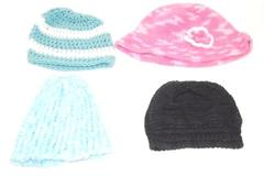 Lot of 4 Women's Knit Beanie Blue White Black Pink Green Flower Crochet