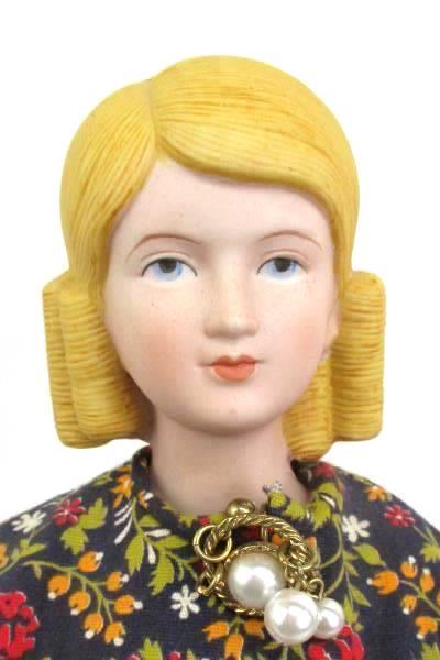 """Vintage 17"""" Amy March Little Women Bisque China Doll Yield House w/ Metal Stand"""