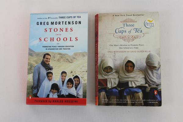 Lot of 2 GREG MORTENSON Books Three Cups of Tea STONES INTO SCHOOLS Softcover