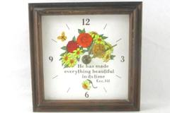 Vintage Clock Square Wooden Floral Pattern For Parts or Repair Ecc 3:11 1960's