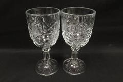 Lot of 2 Vintage Libbey Hob Star Stemmed Water Goblets 7 Inches Tall