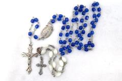 Women's Christian Religion Blue Bead Rosary Part of A Mother of Pearl Bracelet