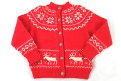 Vintage O. Allers AS Bergen-Norway Children's Sweater Handknitted Red White