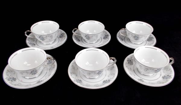 Fleurette by Empress #601 ~ Set 6 Cups and Saucers Japan Blue Gray Roses Scrolls