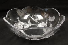 Heavy Frosted Embossed Poppy Glass Decorative Salad Bowl Scalloped Rim