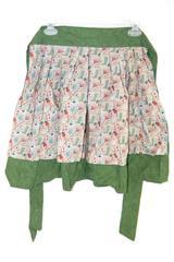 Apron Green Floral Gardening Pattern Around Waist Tie Rakes Boots Water Pale