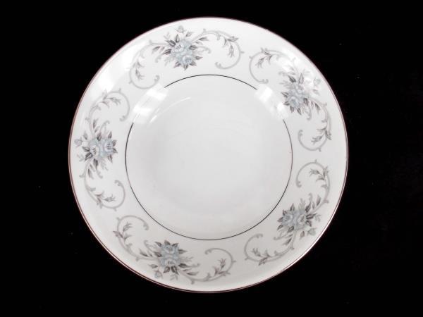 "Fleurette by Empress #601 9"" Round Serving Bowl Japan Blue Gray Roses Platinum"