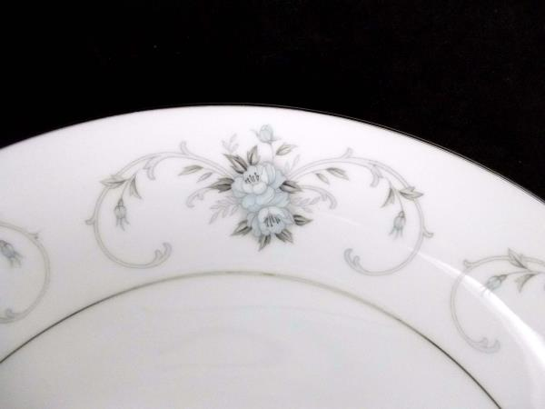 "Fleurette by Empress #601 12.5"" Round Cookie Plate Japan Blue Gray Roses Scrolls"