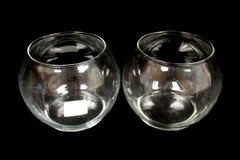 Lot of 2 Libbey 802 4 inch Footed Bubble Ball Vases Candle Holders Clear Glass