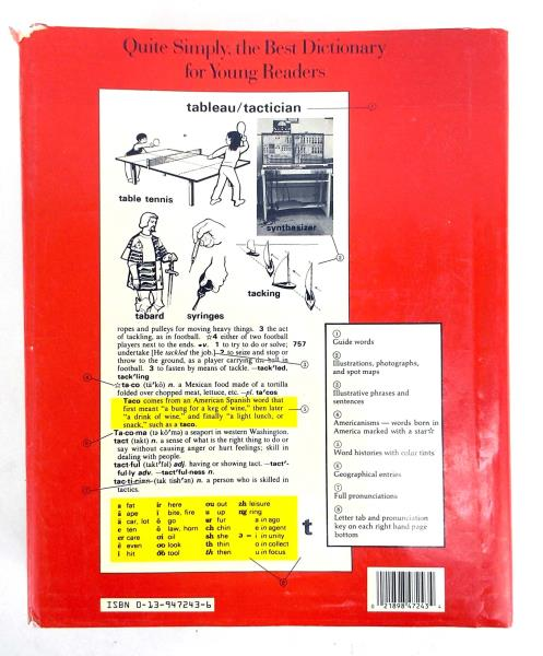 1989 WEBSTER'S NEW WORLD DICTIONARY For Young Readers Maps Updated Edition