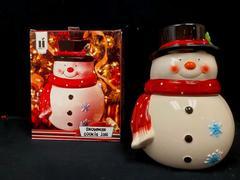 2010 Housewares International Ceramic Snowman Cookie Jar Original Opened Box