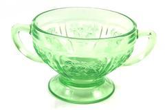 Vintage Federal Glass Sharon Cabbage Rose Open Sugar Bowl Green