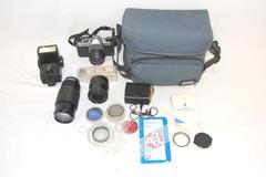 Vintage Pentax ASAHI K1000 Camera 3 Lenses Lens Case Filters Flash Brush