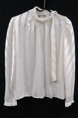 Vintage Nipon Blouse Women's Long Sleeve Top Size 6 White Chiffon Striped
