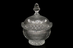 Vintage Large Crystal Lidded Candy Dish Ribs Diamond Cut Acorn Shaped Handle