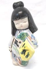 Vintage Piggy Bank Hand Painted Japanese Girl No Stopper Ceramic