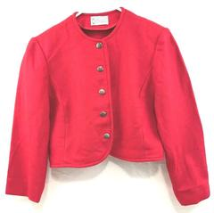 Vintage Pendleton Jacket Virgin Wool Red Coat Women's Sz 10 Silver Tone Buttons