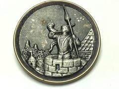 Antique Brass Pewter Shank Button Guard On Castle Tower Blowing Horn 1.5 Inch