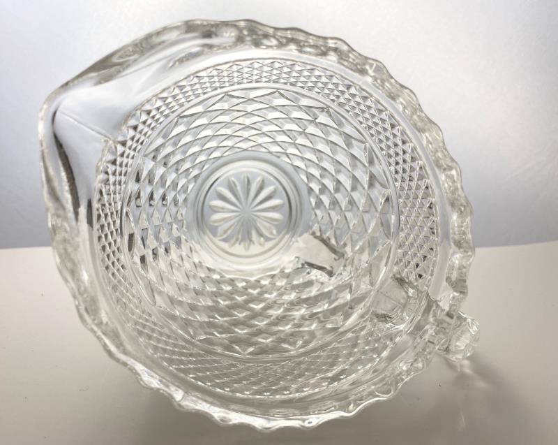 2 Clear Pressed Glass Diamond Pattern Creamer Pitchers