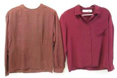 Lot of 2 Vintage Barrie Pace Ltd Women's Blouses Sz 10 Red 100% Silk Long Sleeve