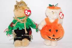Lot of 2 Ty Attic Treasures Bears Dressed Up Alfalfa and Carver Fall Theme