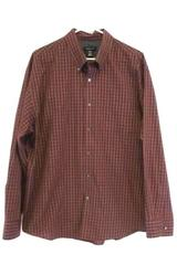 Men's Van Heusen Plaid Maroon Long Sleeved Button Up Dress Shirt XL 17-17.5