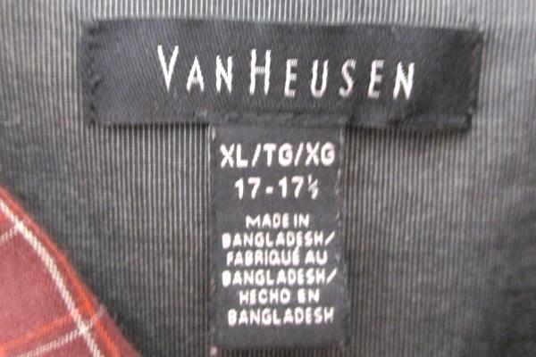 Men's Van Heusen Plaid Maroon Long Sleeved Button Up Dress Shirt XL 17-17.5