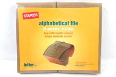 Staples Elastic Close Expanding File A-Z Index 21 Pockets Brown 153437