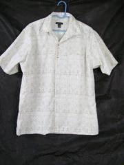 Van Heusen Men's Tan White Shapes Dress Shirt Short Sleeve Button Up Size L/G